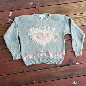 Vintage knit embroidered grandma sweater